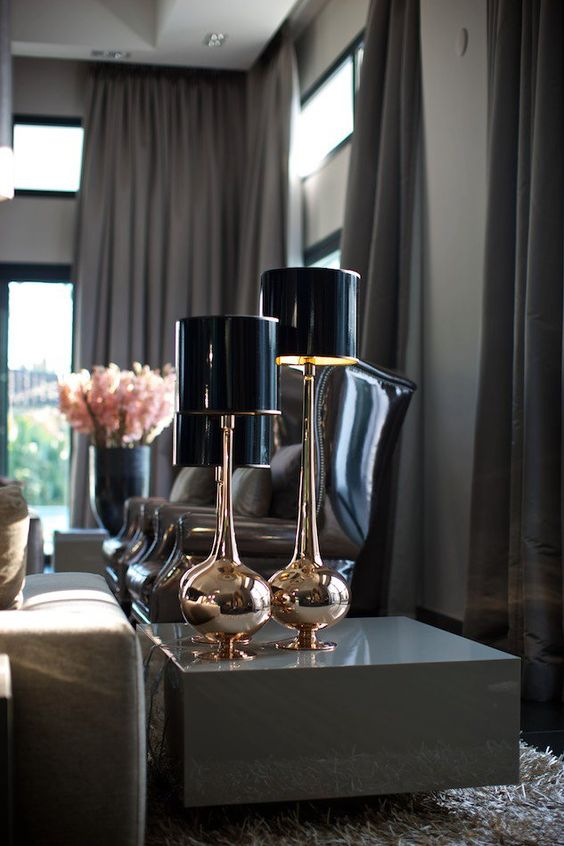 shiny brass lamps