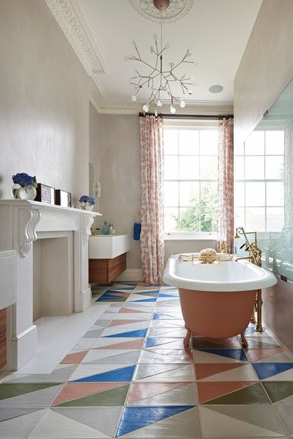 Peach And Blue Classic Bathroom