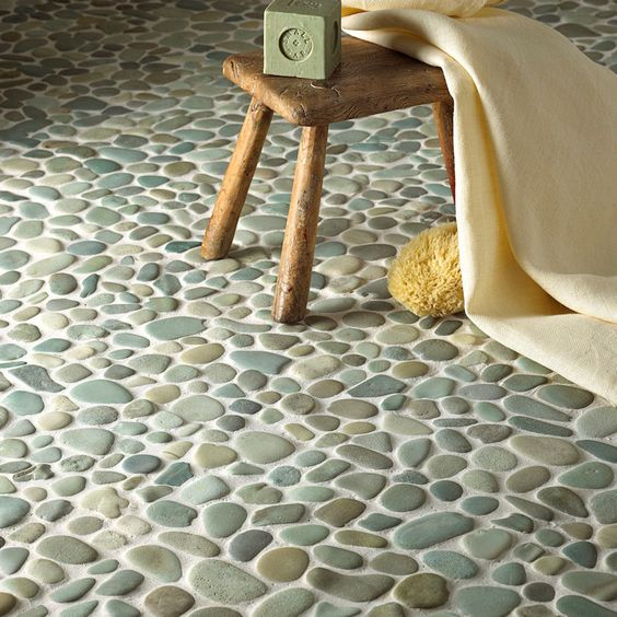 sea green pebble tile floor