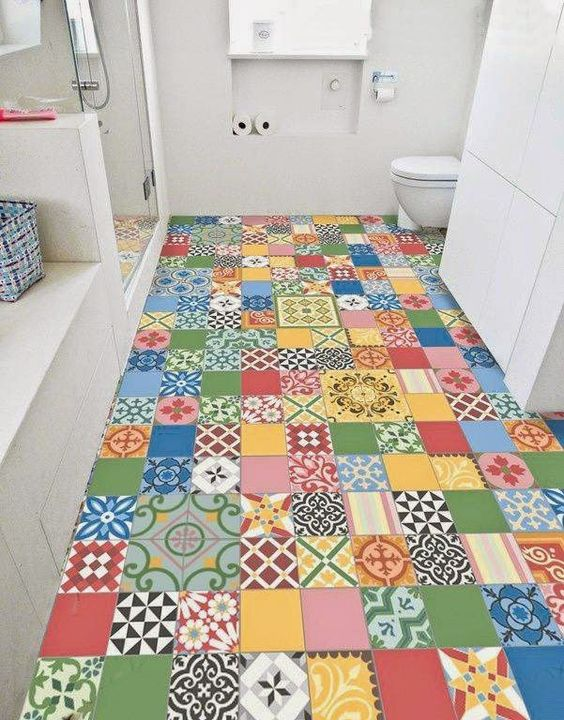 patchwork bathroom floor