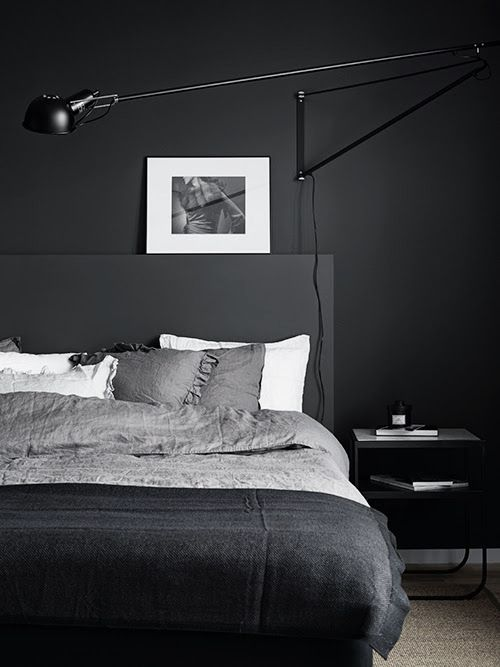 modern minimalist dark bedroom