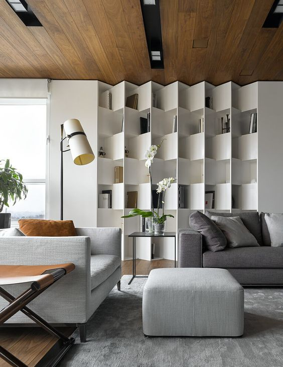 built in wall shelves living room