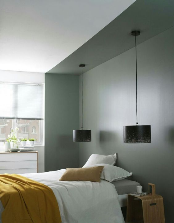 modern grey Scandinavian bedroom