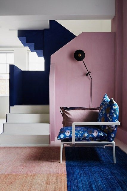 pink and blue Scandinavian interiors