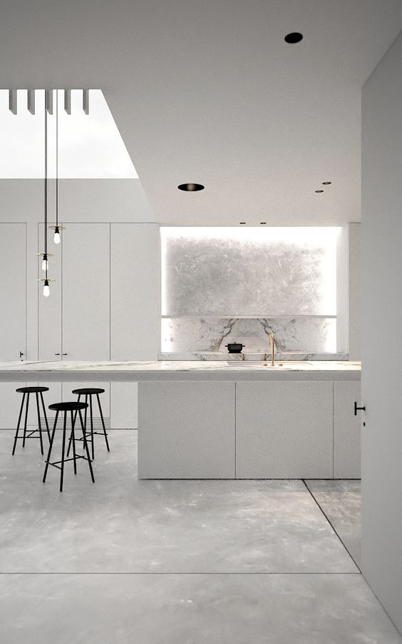 white marble modern kitchen