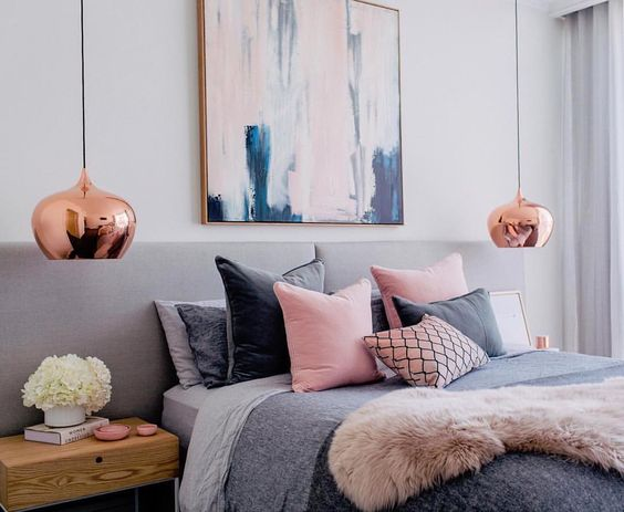 pretty pink and grey bedroom