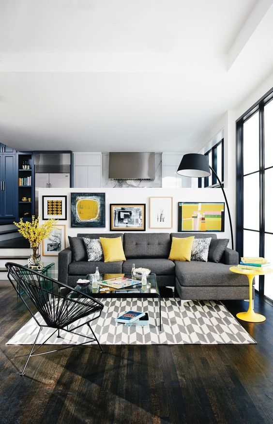 yellow and grey modern living room
