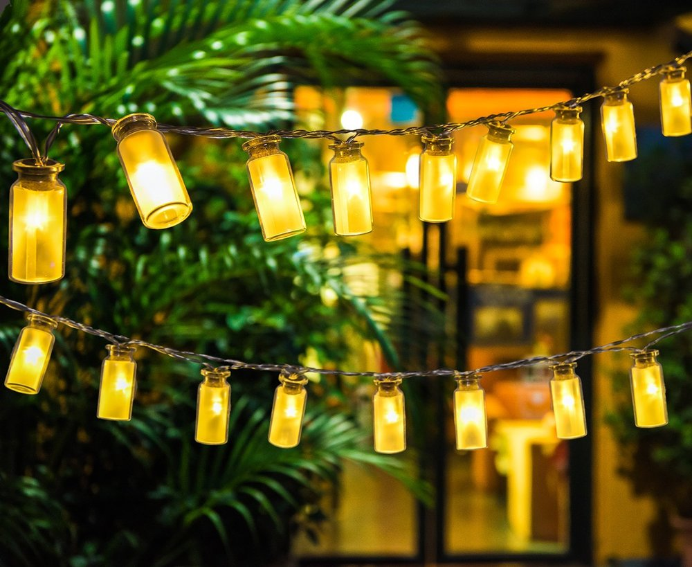 glass jar outdoor string lights