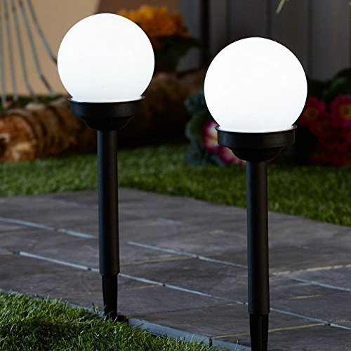 white globe outdoor stake lights
