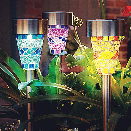 mosaic garden stake lights