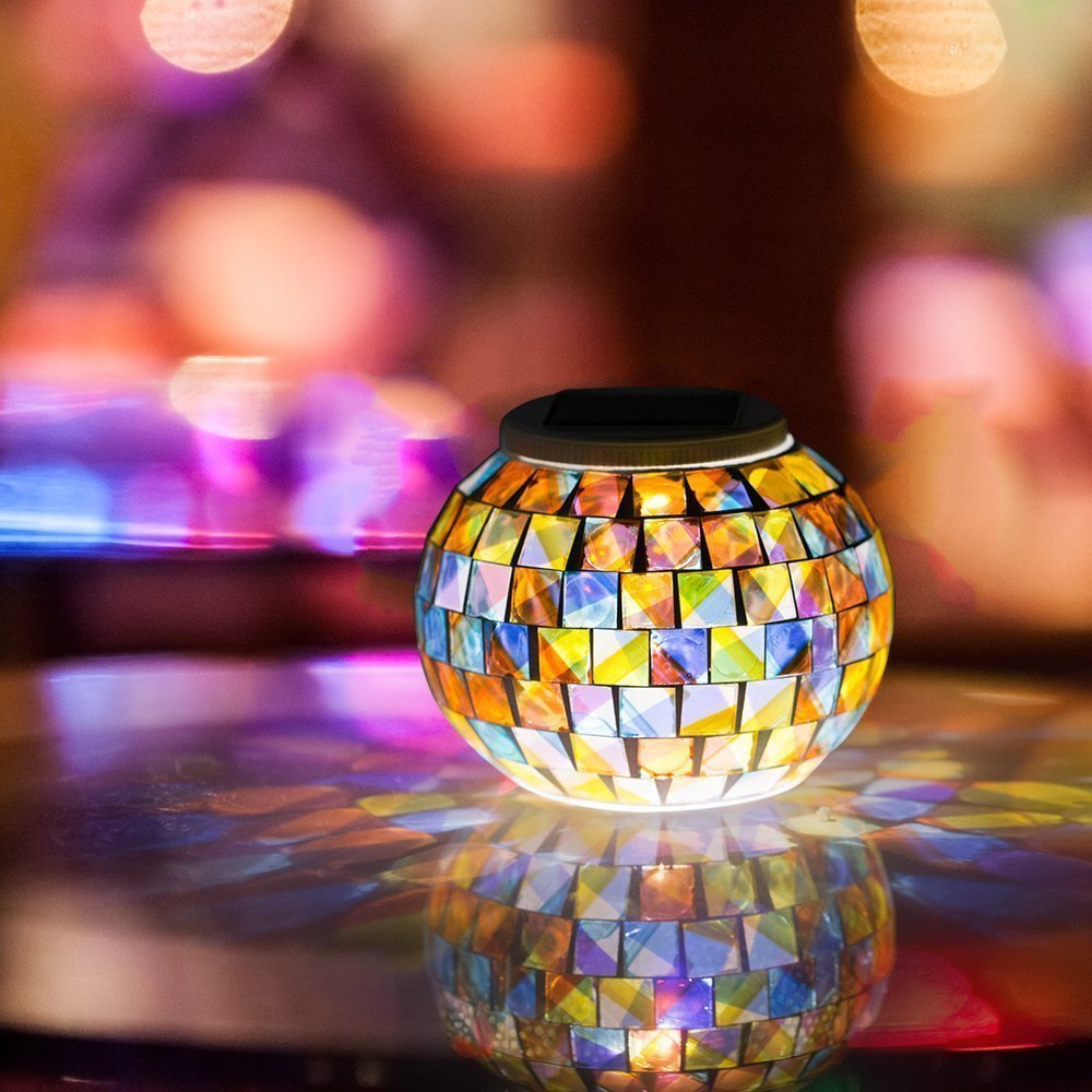mosaic glass table outdoor light