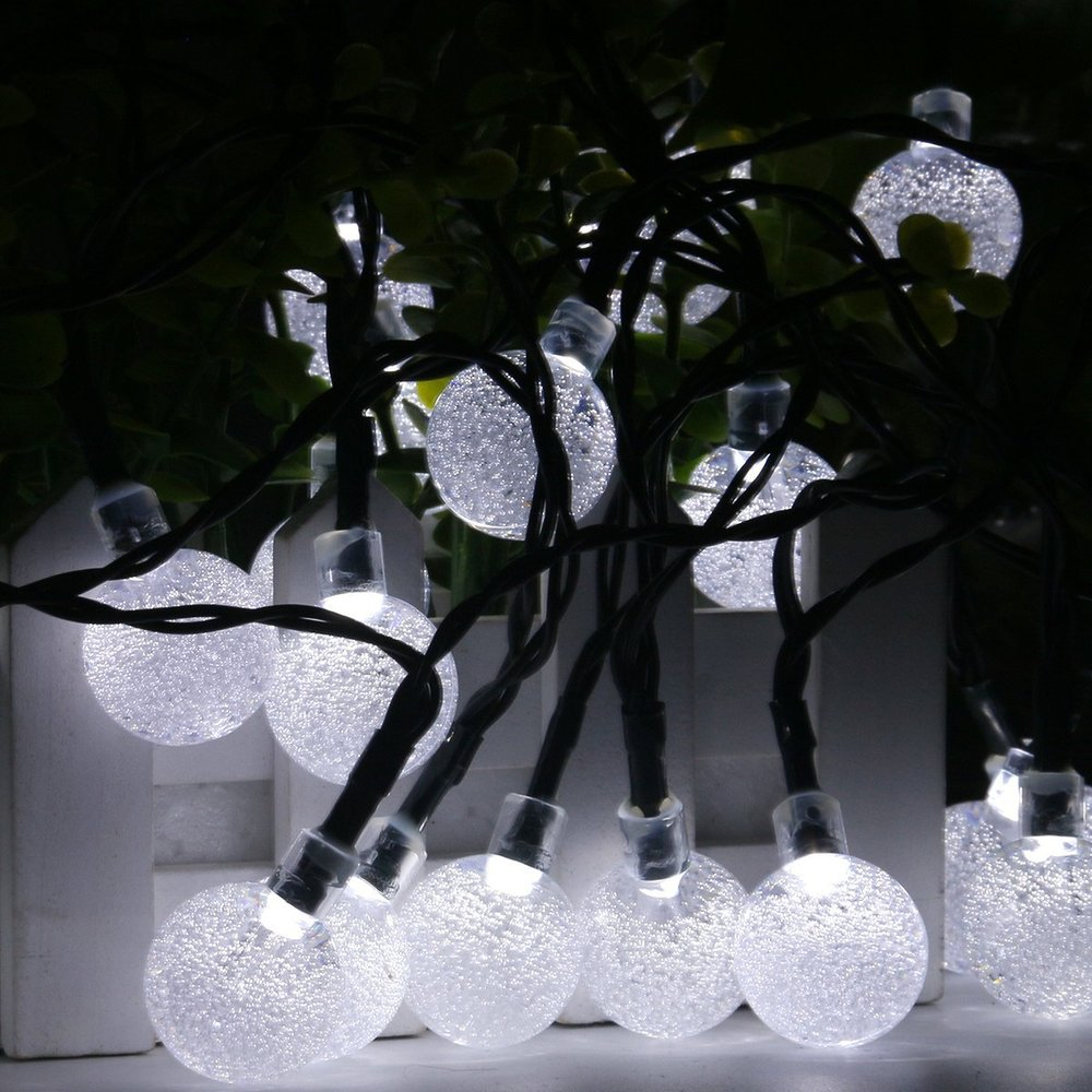 white garden string lights