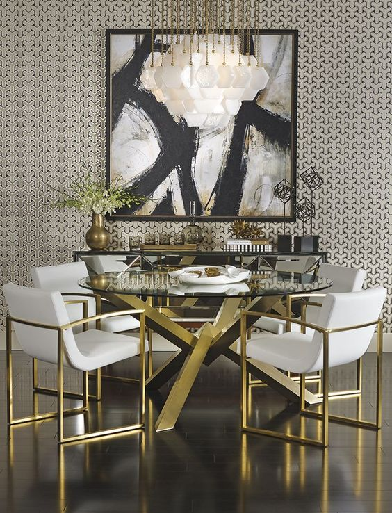 posh modern gold dining room