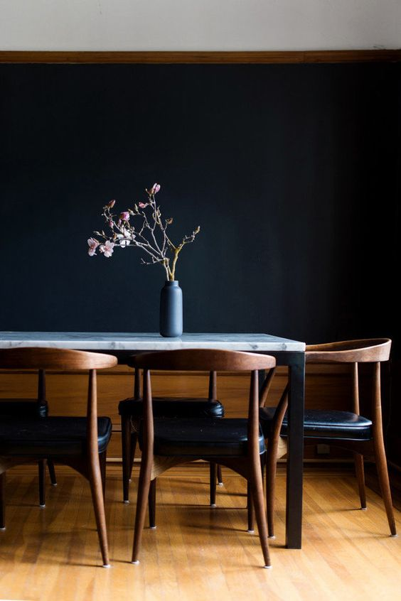 dark modern dining room