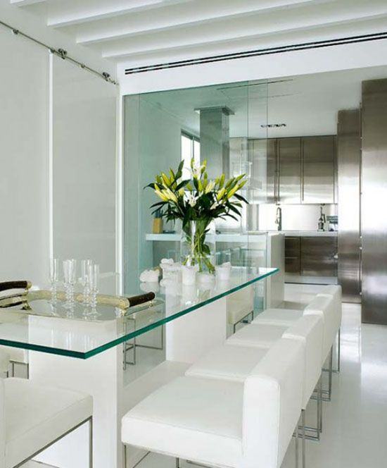 Lovely White Modern Dining Room