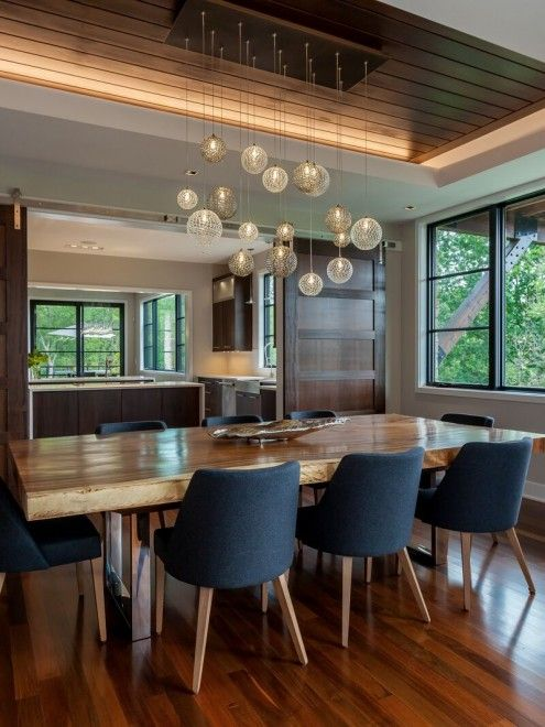 Waxed Wood Modern Dining Room