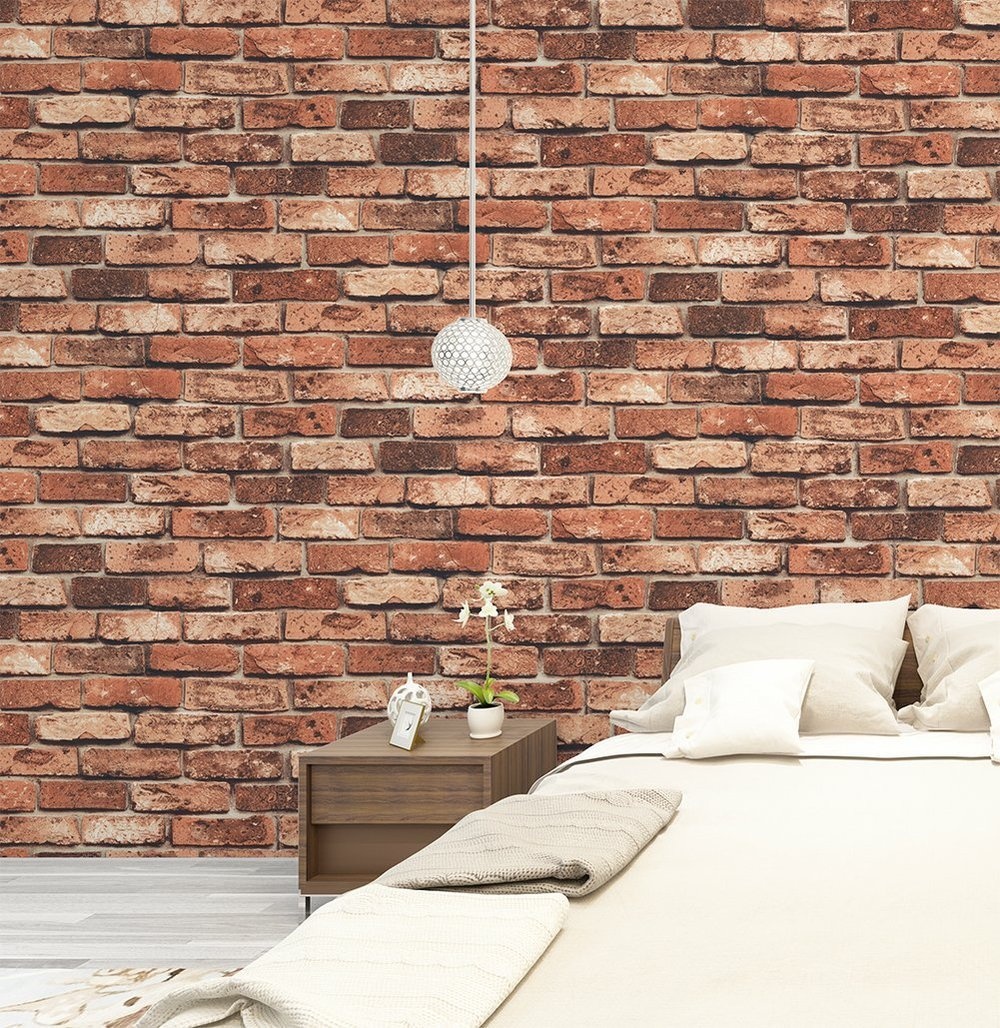red brick wallpaper design for home