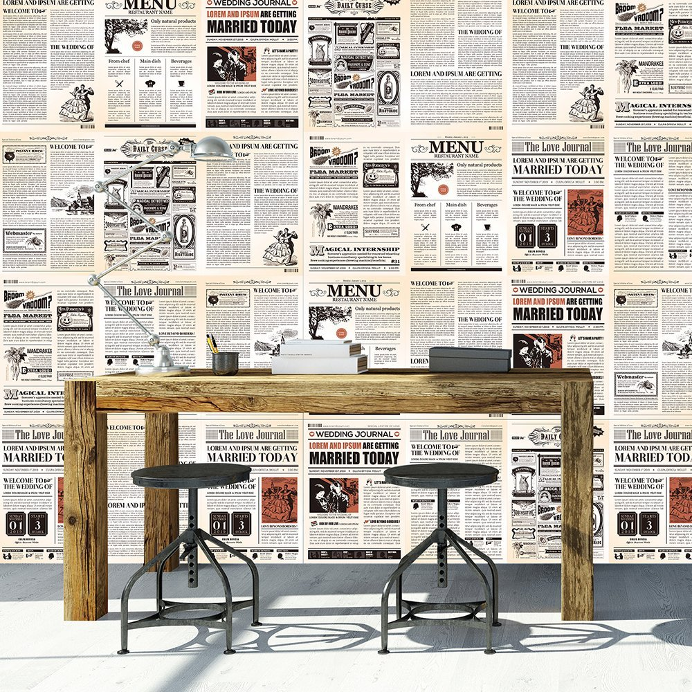 vintage newspaper wallpaper design