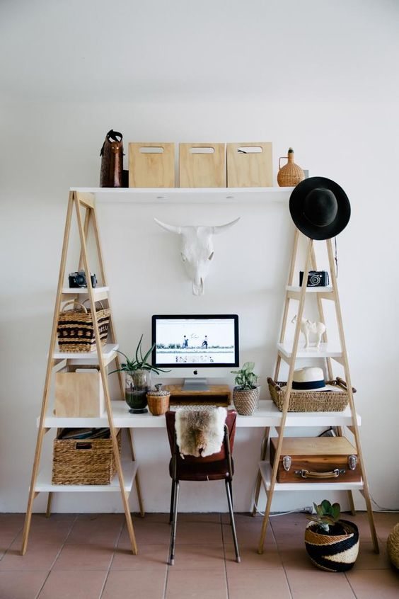 makeshift ladder work space
