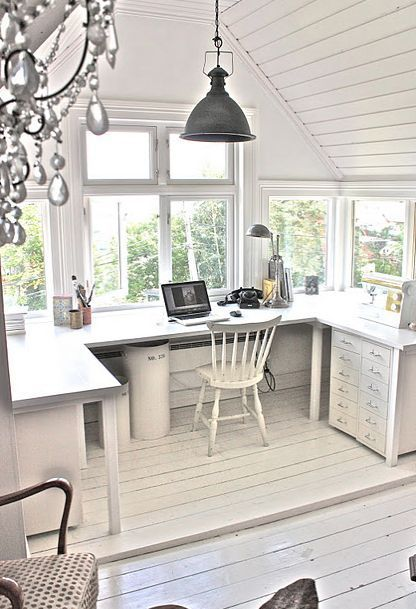 white attic home office