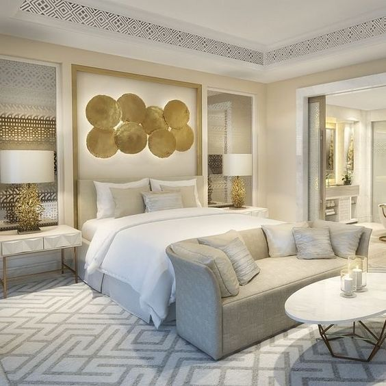 white and gold luxurious bedroom