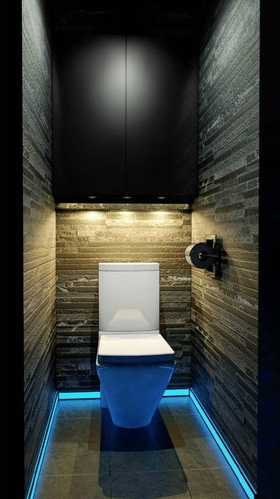 dark and dramatic powder room