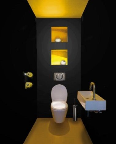 dark modern powder room