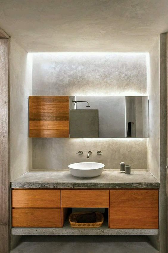 concrete themed powder room