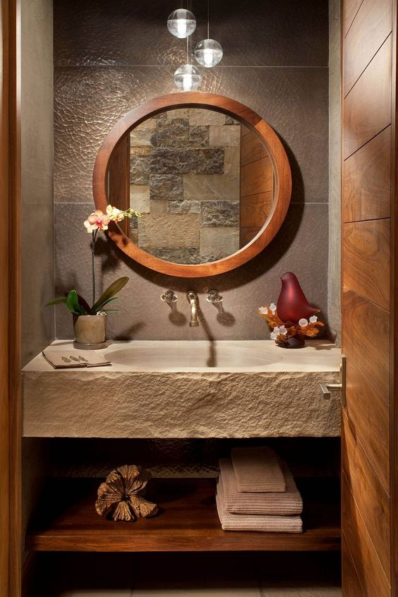 stone and wood powder room