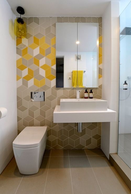 modern yellow powder room