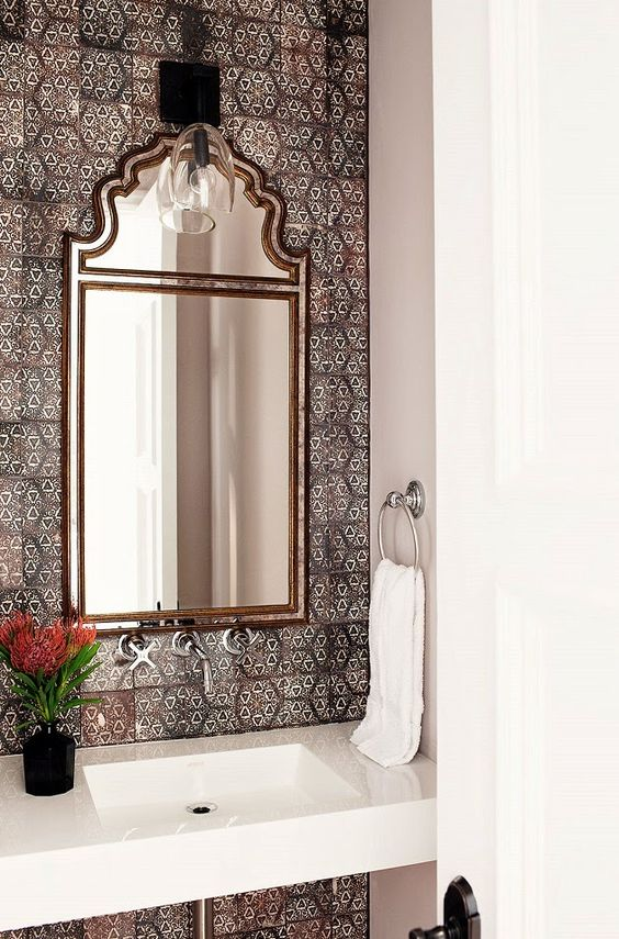 Spanish styled powder room