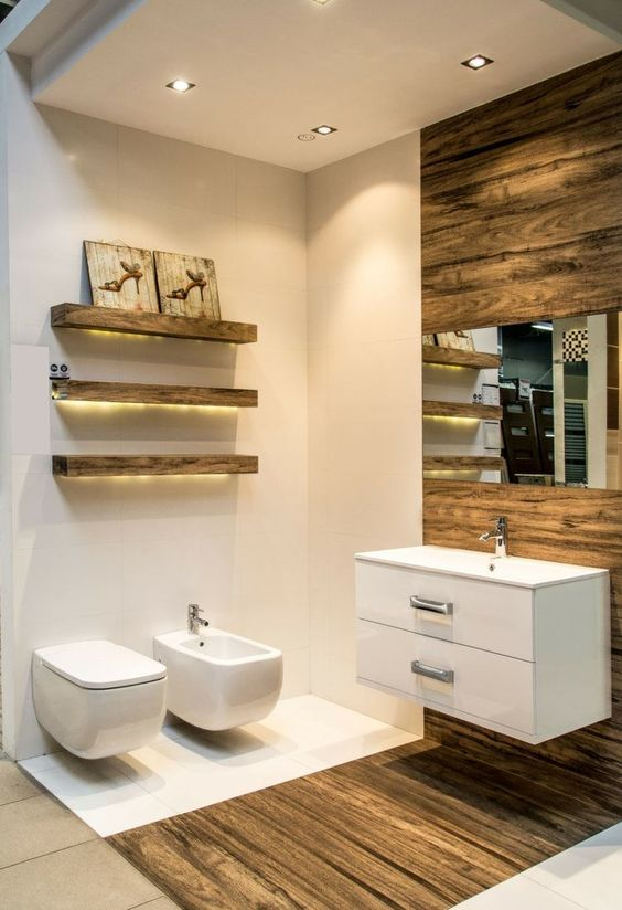 modern rustic powder room