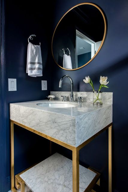 modern blue powder room