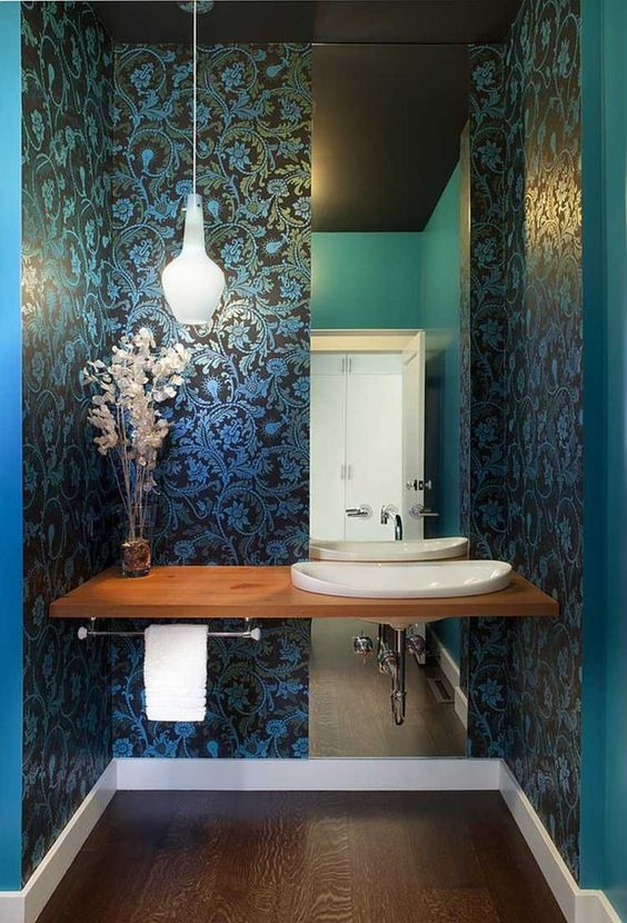 blue ornate powder room