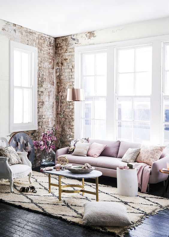 pink industrial living room