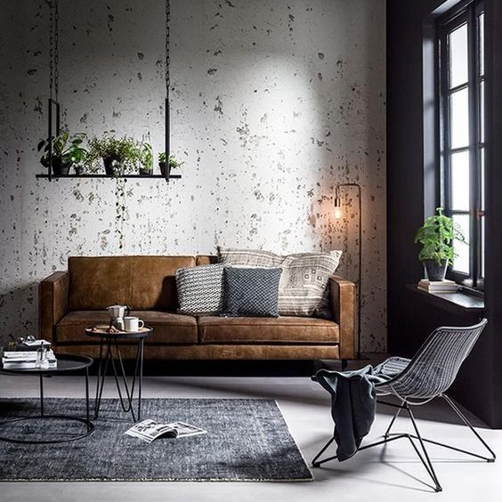 dark industrial living room