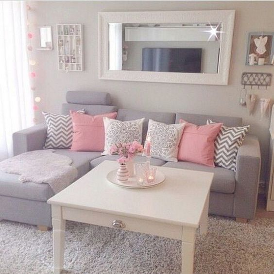 small pink and gray living room