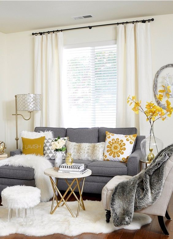 chic yellow living room