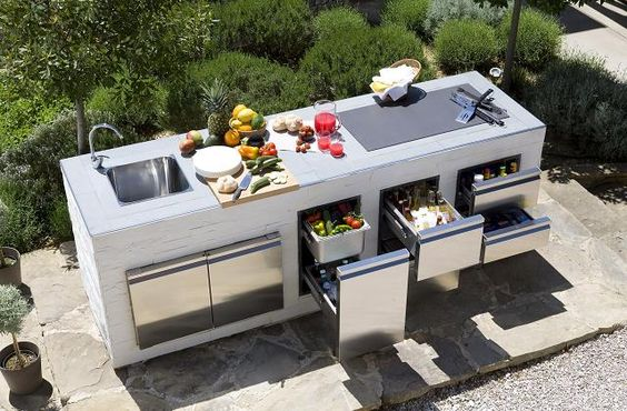 modern kitchen island for the outdoors