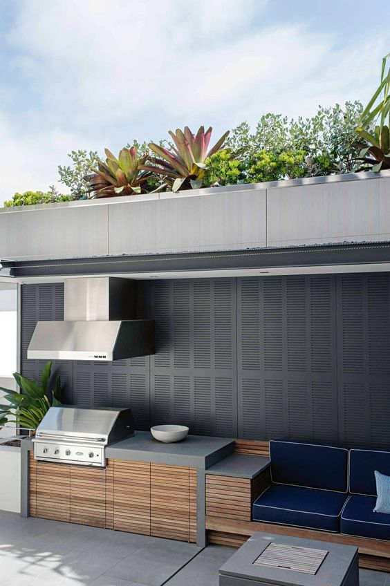 grey contemporary outdoor kitchen