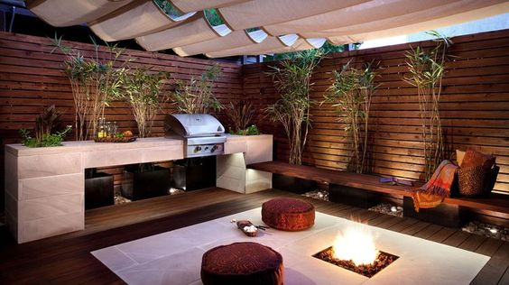 Asian inspired outdoor kitchen