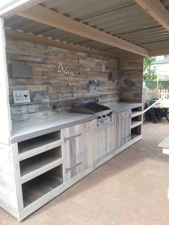 diy pallet outdoor kitchen