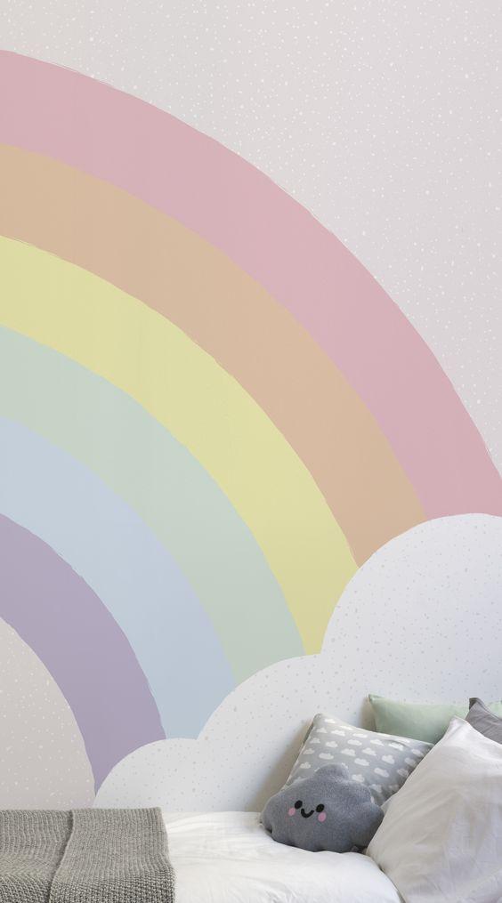 pastel wall rainbow