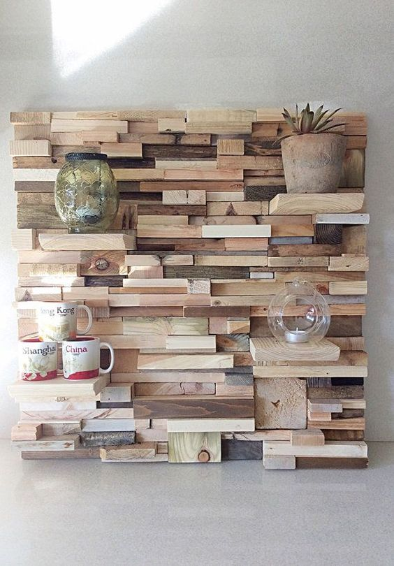 recycled wood wall feature