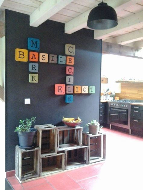 scrabble blocks on the wall