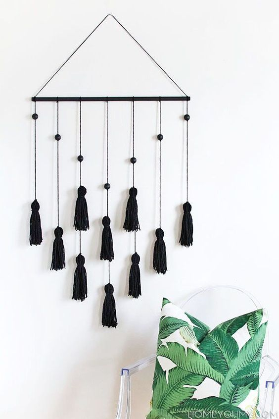 black tassel wall decor