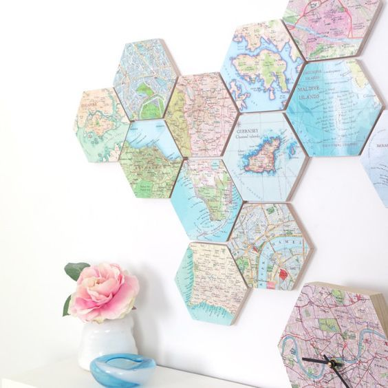 hexagonal wall map frames