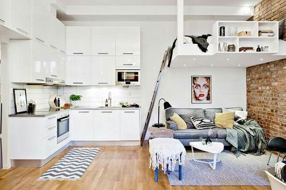 studio apartment with raised bed
