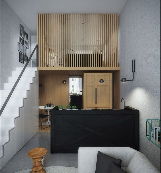 mosern apartment with loft bedroom