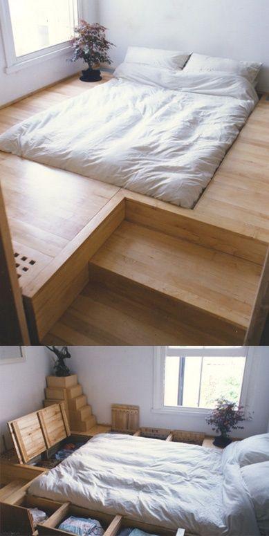 sunken bed with floor storage